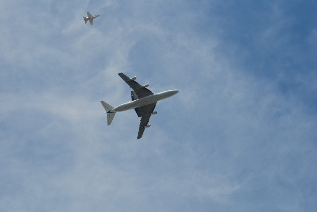 Space shuttle Endeavour's final flight_directly overhead, South Pasadena, CA._photo 1_Friday September 21, 2012