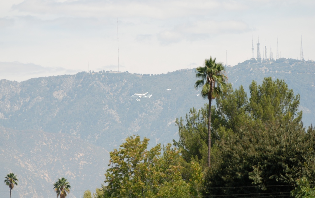 Space shuttle Endeavour's final flight_San Gabriel mountain back drop_Friday September 21, 2012