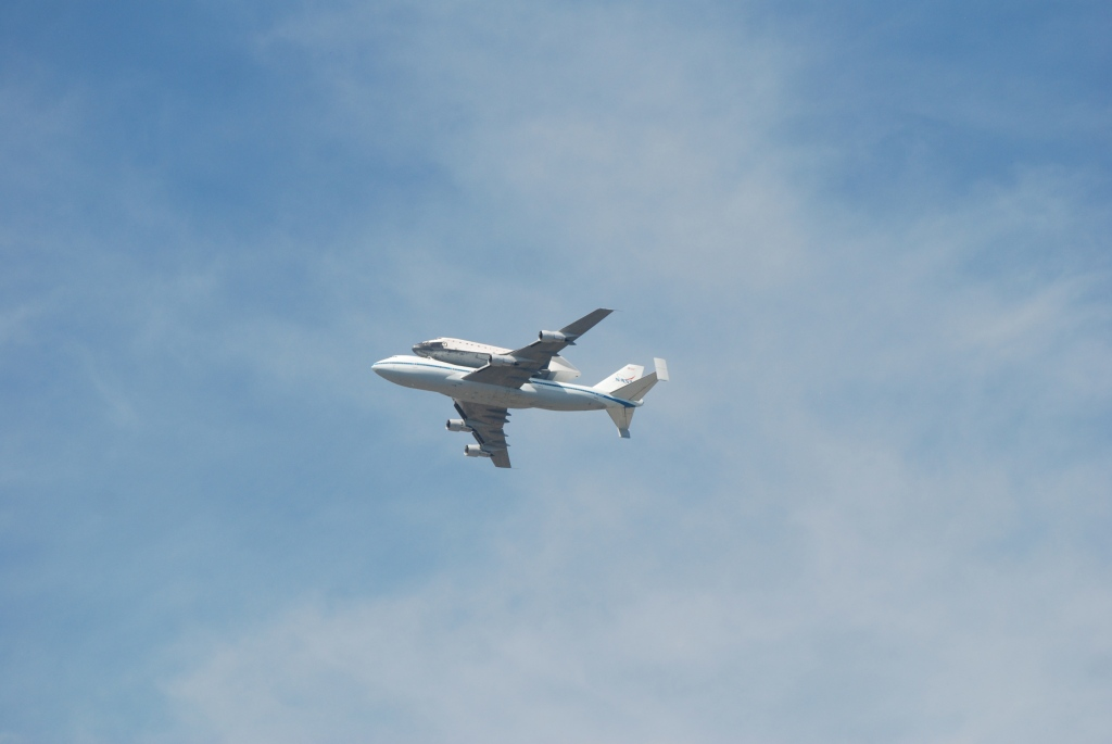 Space shuttle Endeavour's final flight_profile shot over South Pasadena CA_Friday September 21, 2012