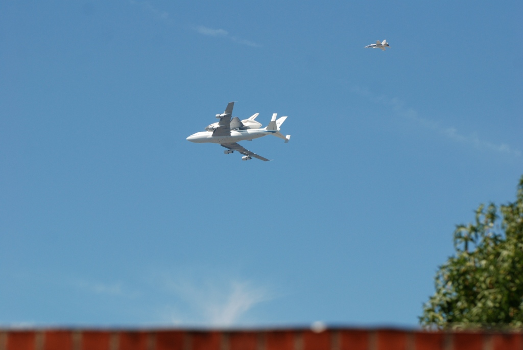 Space shuttle Endeavour's final flight_profile shot departing South Pasadena CA_Friday September 21, 2012