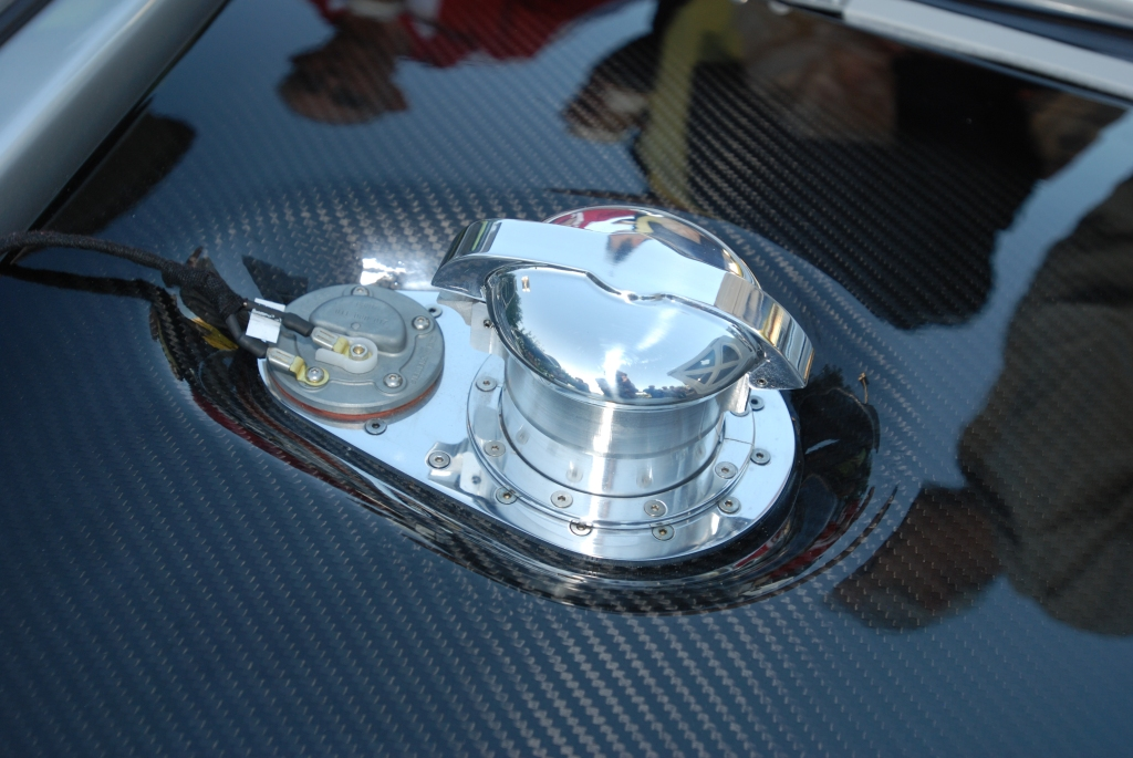 silver Vintech P-550 tribute_carbon fiber fuel tank with polished central fuel filler and cap_Cars&Coffee/Irvine_September 1, 2012