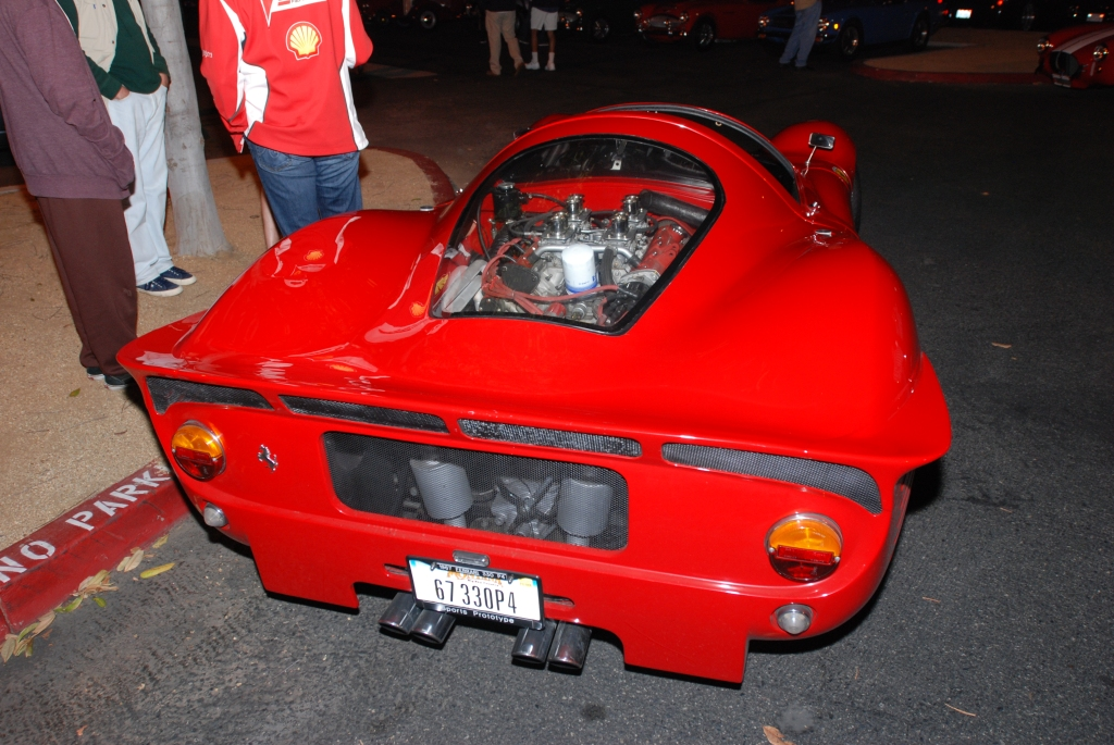 Red 1967 Ferrari 330 P4 recreation_rear deck& window view_Cars&Coffee_September 29, 2012