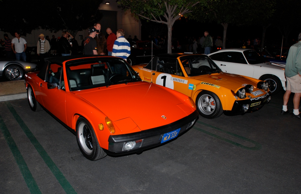 Tangerine colored 1970 Porsche 914-6 and a Signal orange 1971 914-6 GT factory race car_Cars&Coffee_October 27, 2012