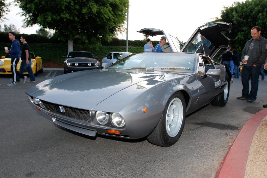 1969 slate gray Detomaso Mangusta_3/4 front view_Cars&Coffee_October 6, 2012