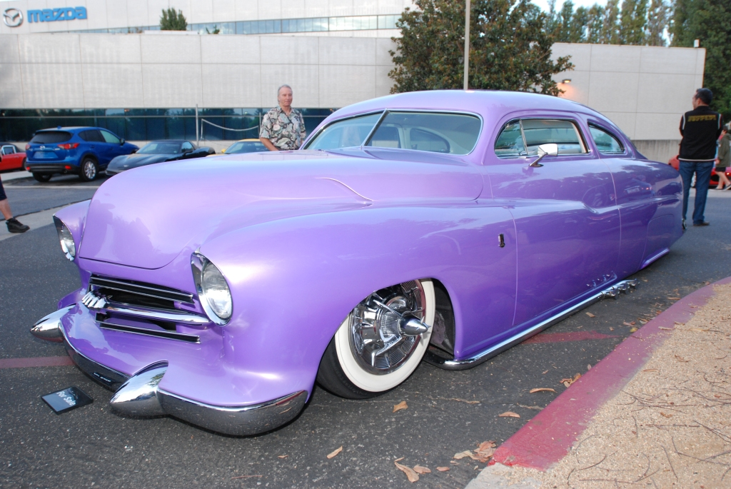 1951 Purple chop top Merc by RD Kustoms_3/4 front view_Cars&Coffee_October 6, 2012