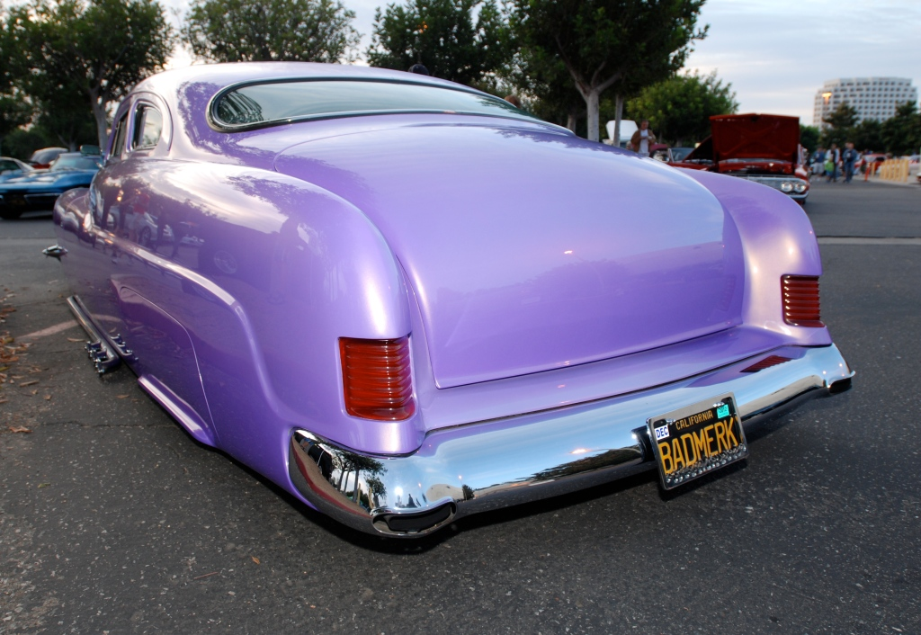 1951 Purple chop top Merc by RD Kustoms_3/4 rear view_Cars&Coffee_October 6, 2012