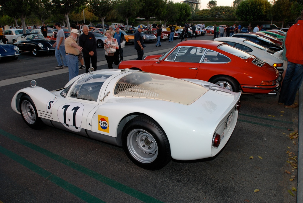 White 1966 Porsche 906, red 1966 911_Porsche row_side view_Cars&Coffee_September 29,2012