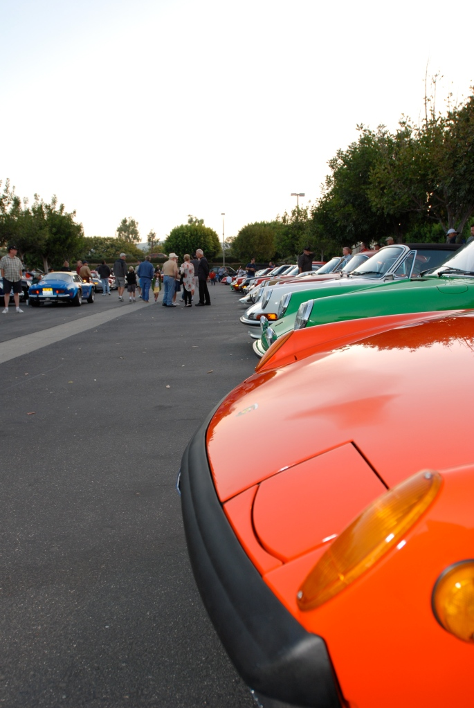 Porsche row_Orange 914-6 in foreground_Cars&Coffee_September 29,2012