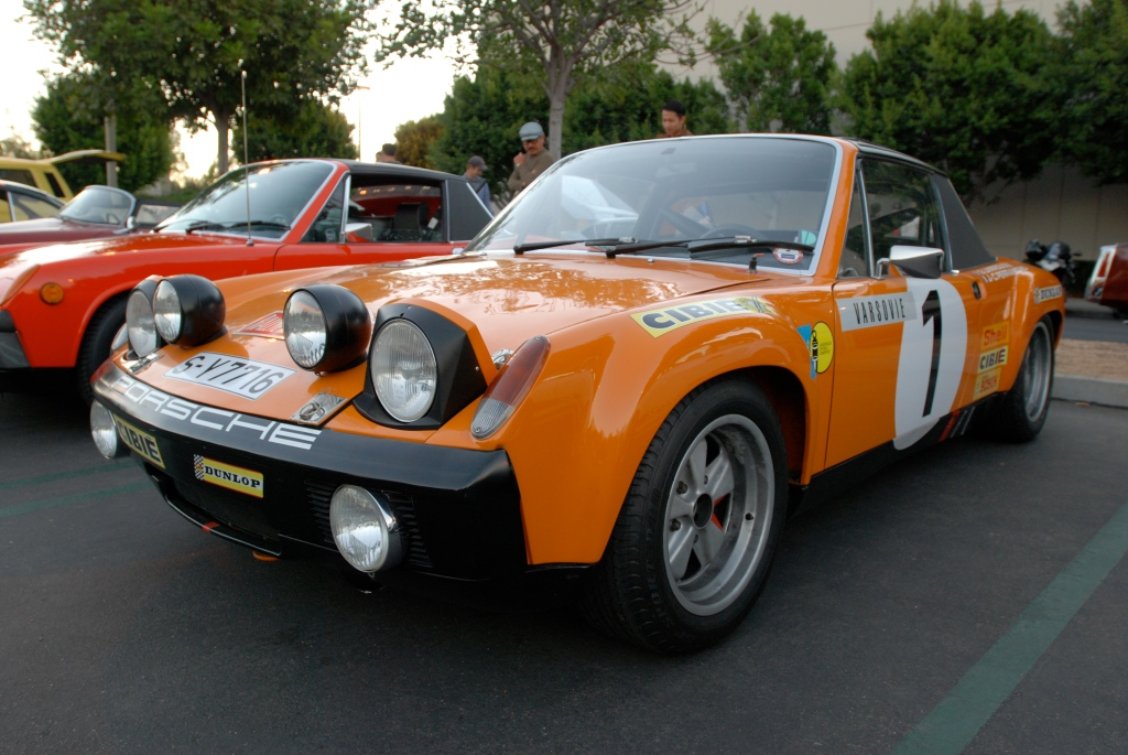 Signal orange 1971 Porsche 914-6 GT factory race car_3/4 front view_Cars&Coffee_October 27, 2012