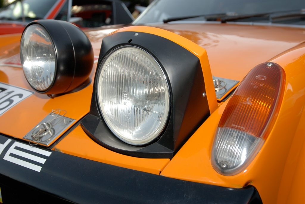 Signal Orange 1971 Porsche 914-6 GT factory race car_headlight detail_Cars&Coffee_October 27, 2012