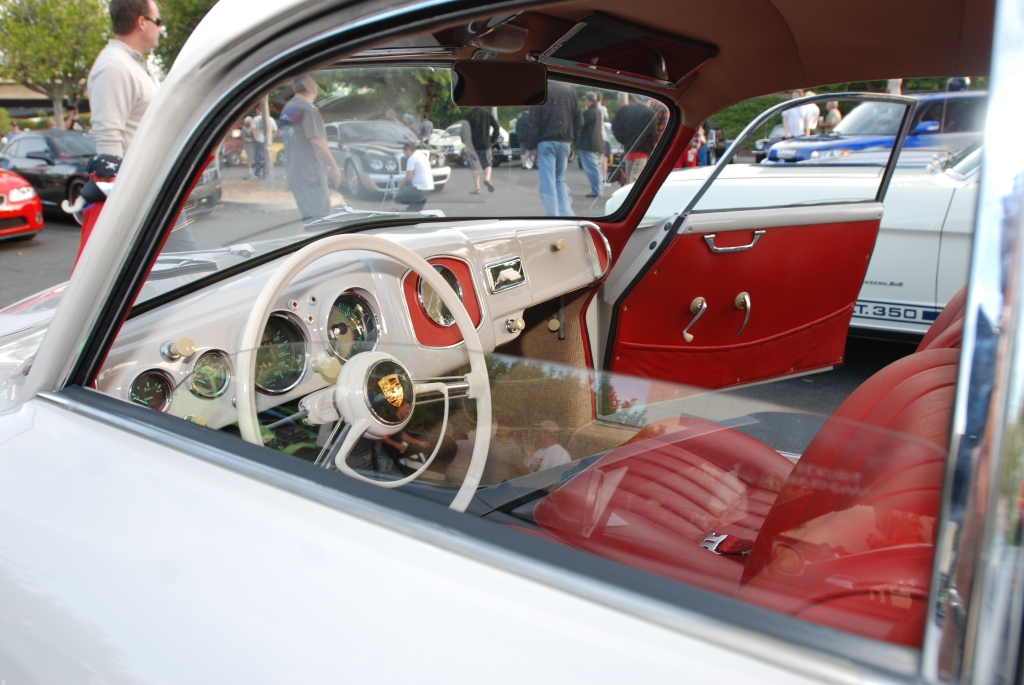 Ivory 1955 Porsche Continental coupe_interior view with red upholstery_Cars&Coffee_October 6. 2012