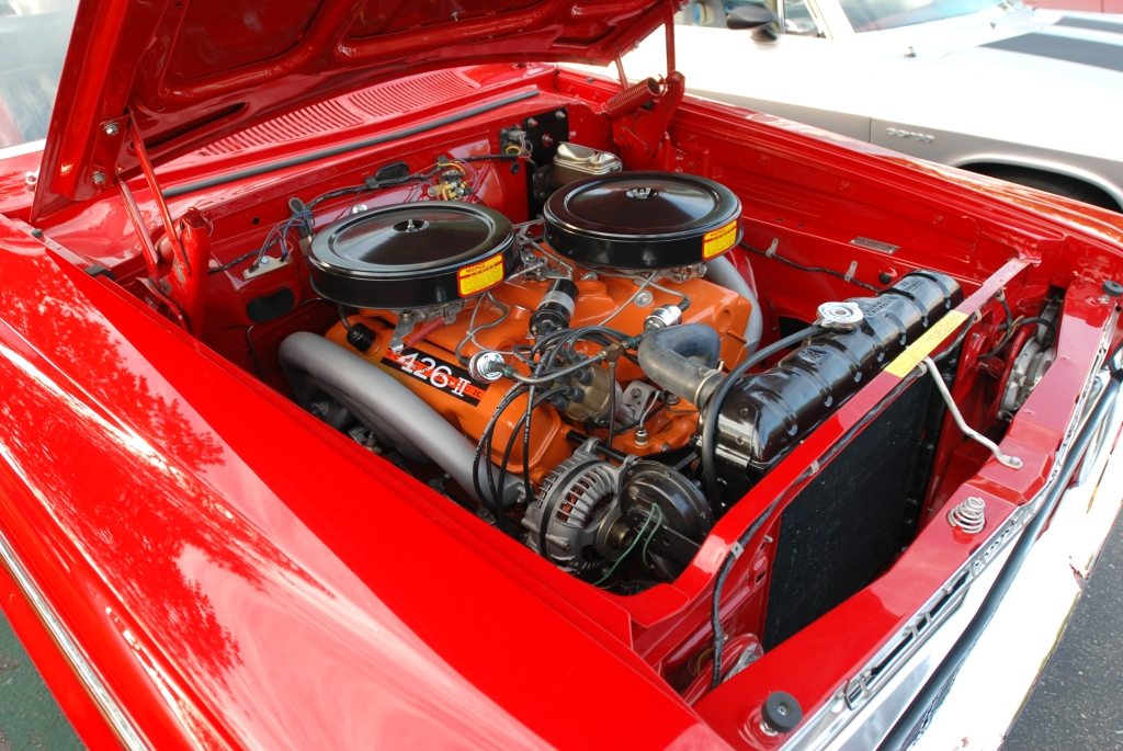Red 1963 Plymouth Sport Fury _426 hemi motor detail_Cars&Coffee_October 6, 2012