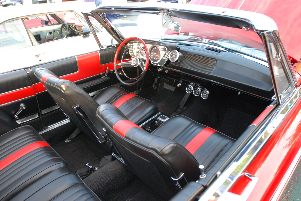 Red 1963 Plymouth Sport Fury _interior detail_Cars&Coffee_October 6, 2012