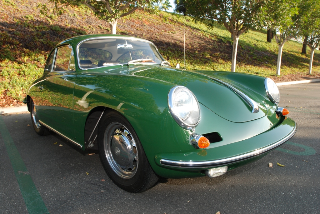 Green Porsche 356 Carrera 2_3/4 front view_Cars&Coffee_September 29, 2012