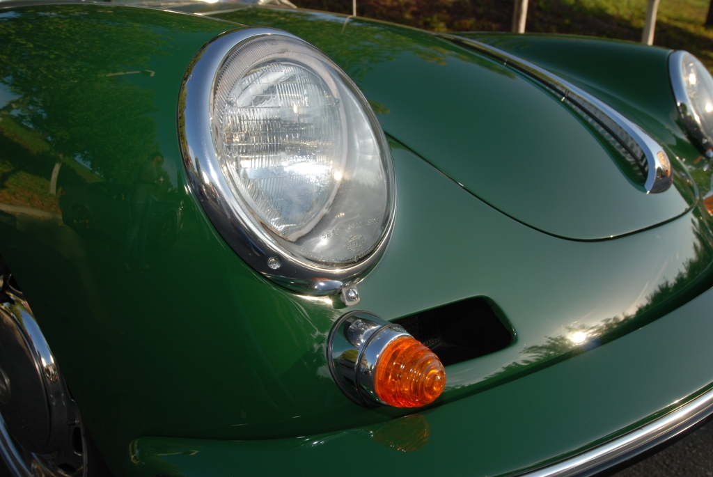 Green Porsche 356 Carrera 2_ front end detail_Cars&Coffee_September 29, 2012