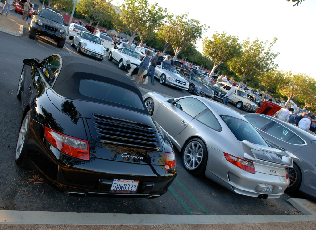 Black Porsche 997 Cabriolet and silver 2008 GT3_3/4 rear w/ reflections_Cars&Coffee_October 27, 2012