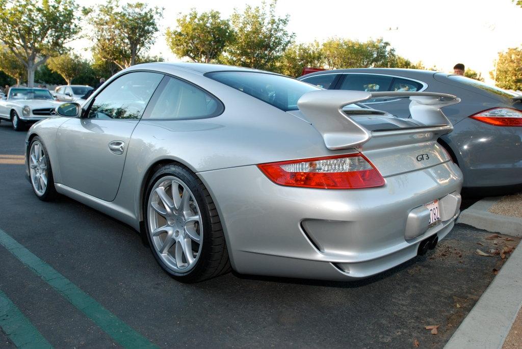 Silver 2008 Porsche GT3_3/4 rear view_Cars&Coffee_October 27, 2012