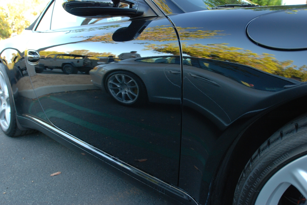Black Porsche 997 Cabriolet _with silver 997 GT3 reflection_Cars&Coffee_October 27, 2012