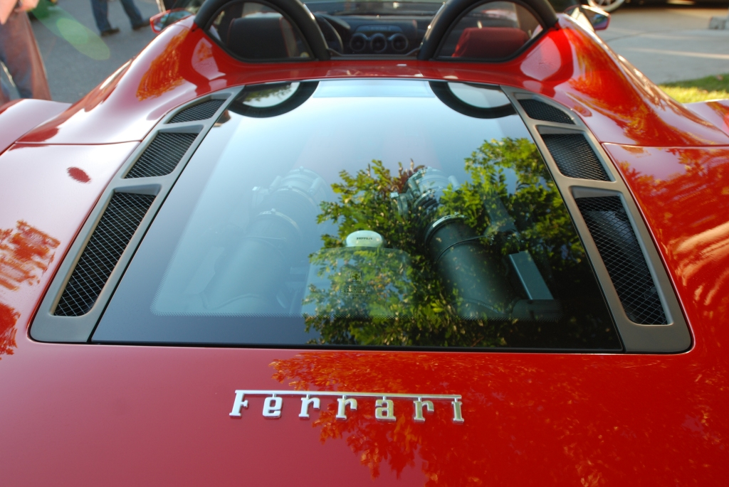 Red Ferrari F430 spyder_rear deck reflections_Cars&Coffee_October 27, 2012
