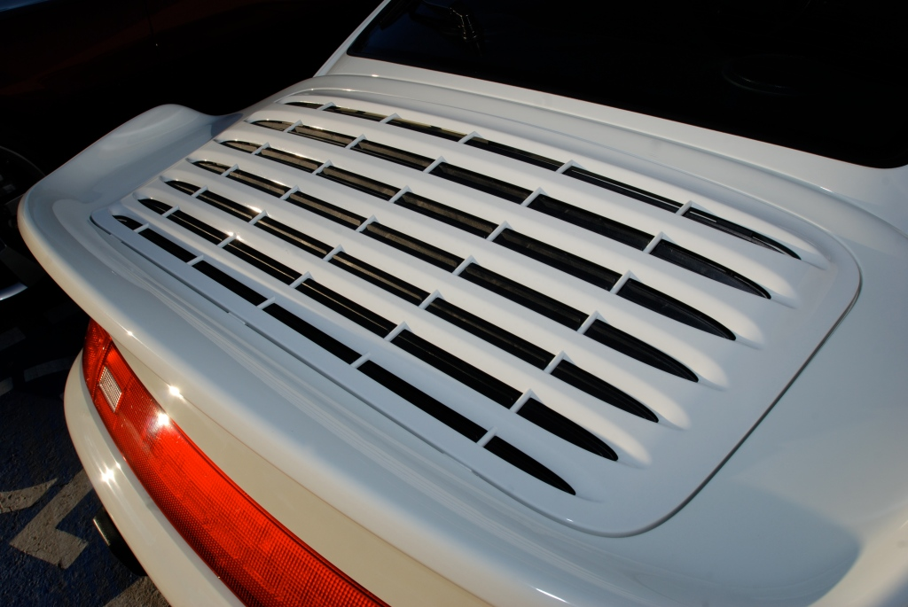 Grand Prix white Porsche 993 Turbo_turbo tail detail_Cars&Coffee_October 27, 2012