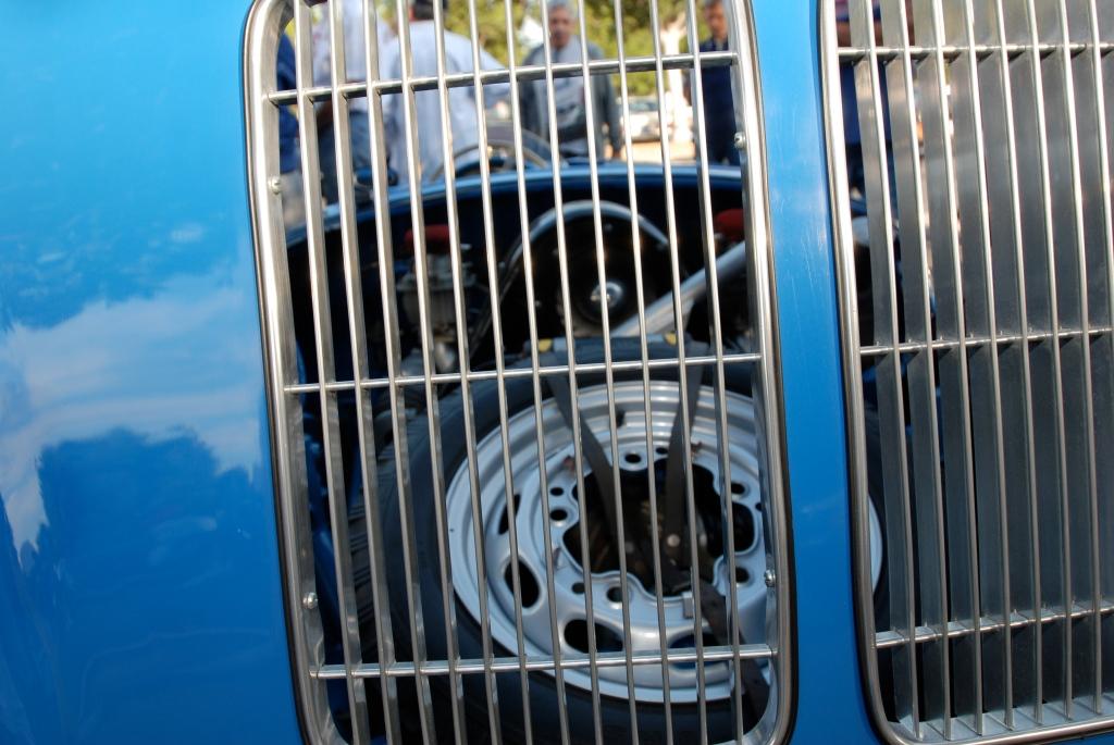 Blue Porsche 550 Spyder_Porsche row_3/4 rear view_Cars&Coffee_September 29,2012