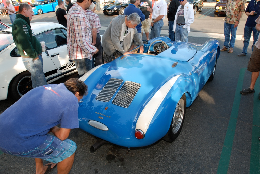 Blue Porsche 550 Spyder_Porsche row_3/4 rear view_Cars&Coffee_September 29,2012