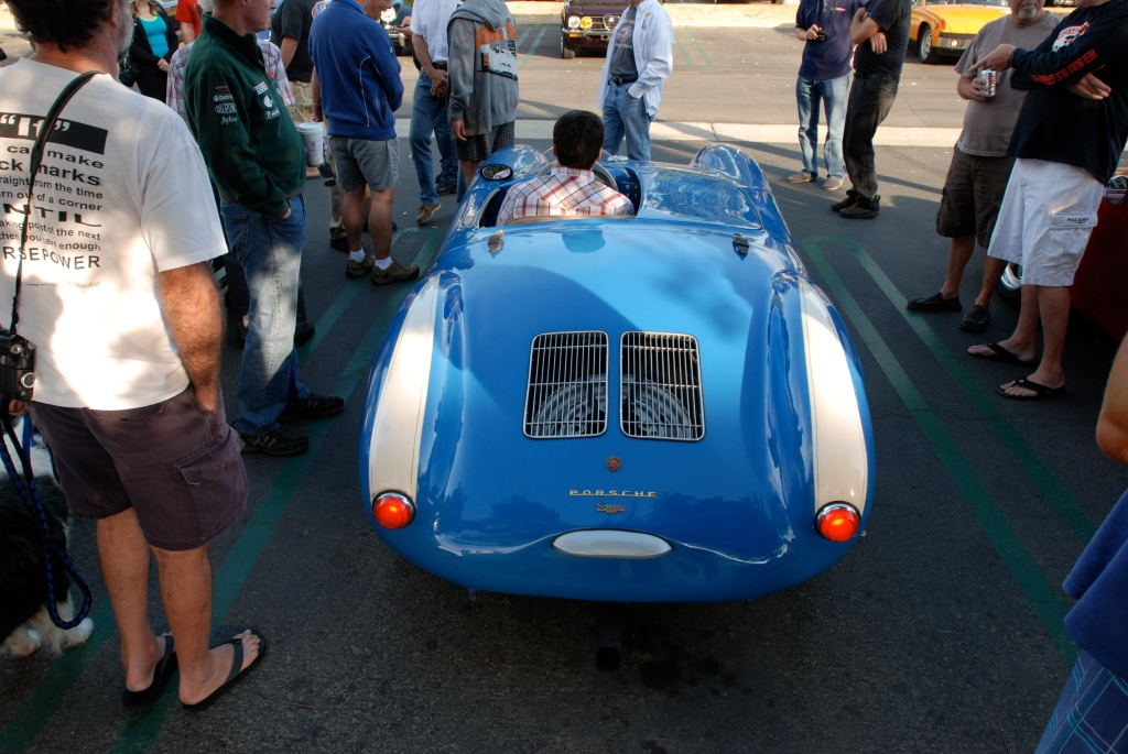 Blue Porsche 550 Spyder_Porsche row_rear view w/lit tailights_Cars&Coffee_September 29,2012