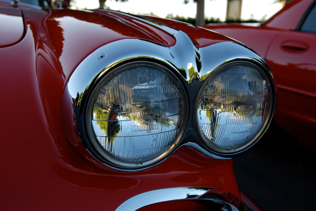 Red & white 1958 corvette roadster_headlight & trim reflections_Cars&Coffee_October 27, 2012