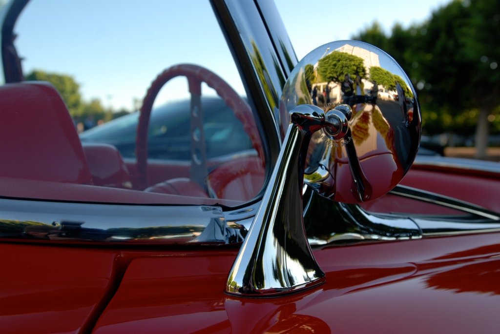 Red & white 1958 corvette roadster_side mirror reflections_Cars&Coffee_October 27, 2012