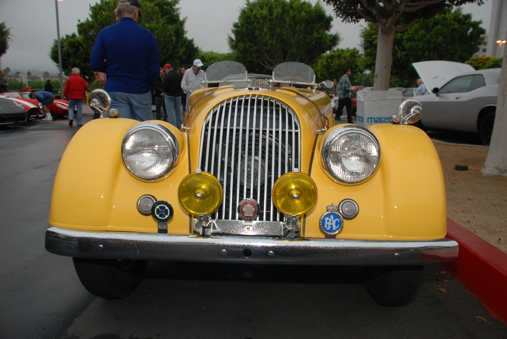 Sunflower yellow hued Morgan Plus 4 roadster_front view_Cars& Coffee_October 20, 2012