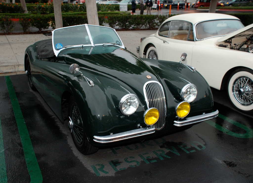 Green Jaguar XK 140 roadster with tonneau & white Xk 150 coupe_in the rain_Cars&Coffee_October 20, 2012