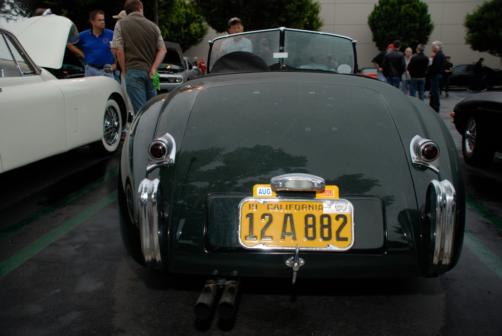 Green Jaguar XK 140 roadster_rear view with rain drops_Cars&Coffee_October 20, 2012