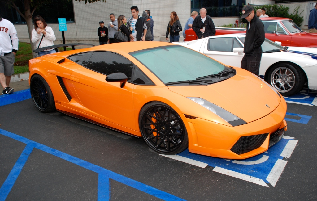 Orange Lamborghini Gallardo_rain covered_3/4 front view_Cars&Coffee_October 20, 2012