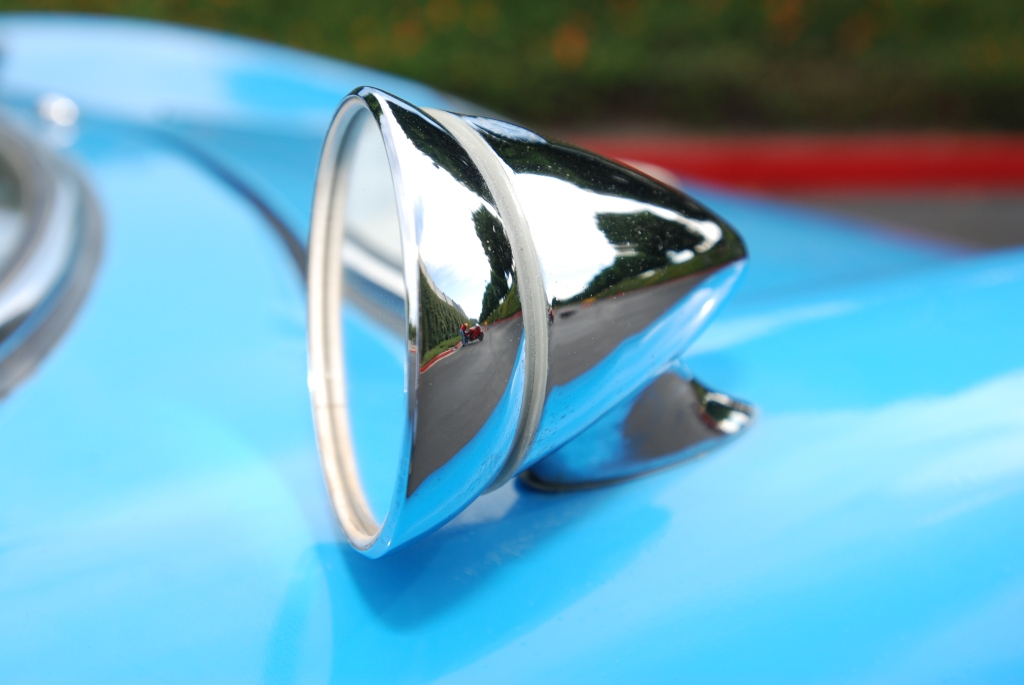 Blue 1964 Porsche 904 Carrera GTS_ front fender mirror & reflections_Cars&Coffee_September 29, 2012