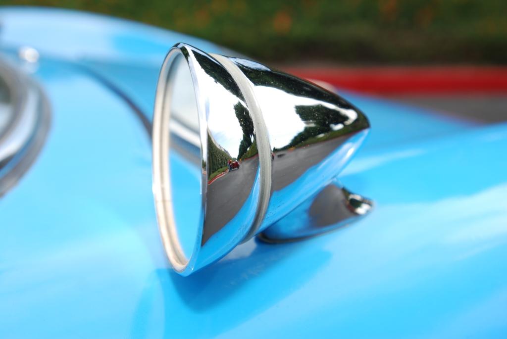 Blue 1964 Porsche 904 Carrera GTS_ front fender mirror & reflections_Cars&Coffee_September 29, 2012
