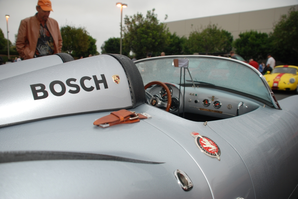 Silver Porsche 550 Spyder re-creation in the rain_dual headrests_Cars&Coffee_October 20, 2012