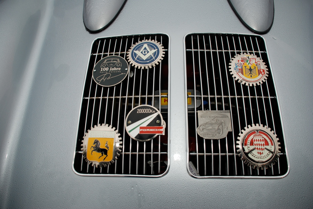 Silver Porsche 550 Spyder re-creation in the rain_rear grill detail w/ badging_Cars&Coffee_October 20, 2012