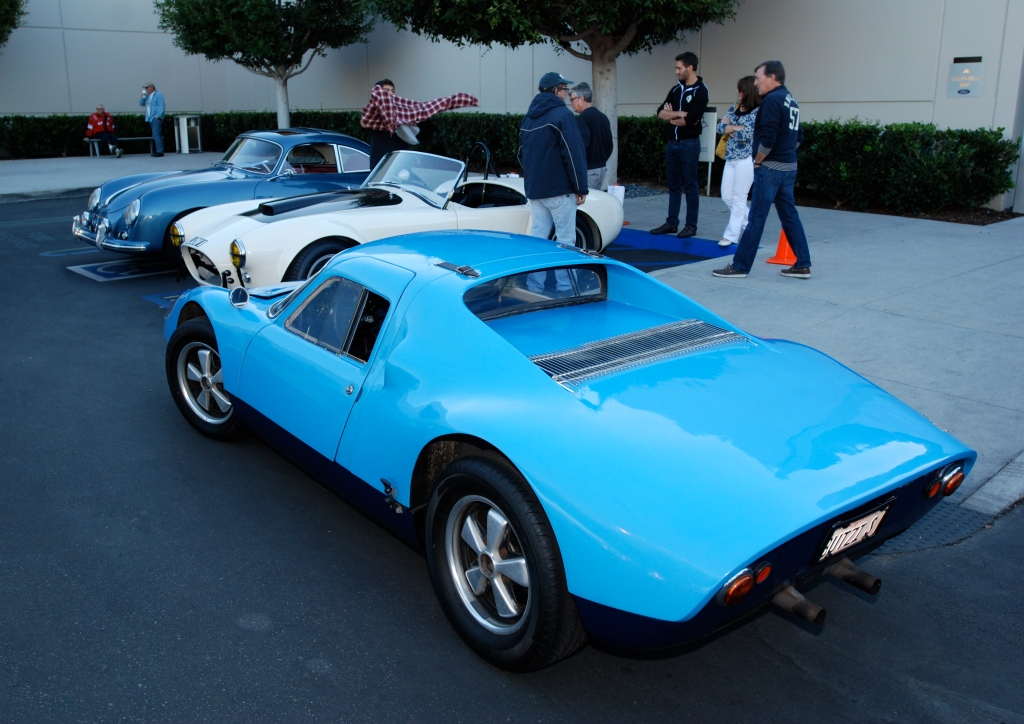 A trio of 50s & 60s classic sports cars_ Blue 1957 Porsche 356A, Wimbledon White 1964 Shelby 427 Cobra, and the blue 1964 Porsche 904 Carrera GTS_Cars&Coffee_October 27, 2012