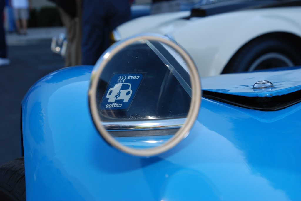 Blue 1964 Porsche 904 Carrera GTS_ side mirror reflection_Cars&Coffee_October 27, 2012