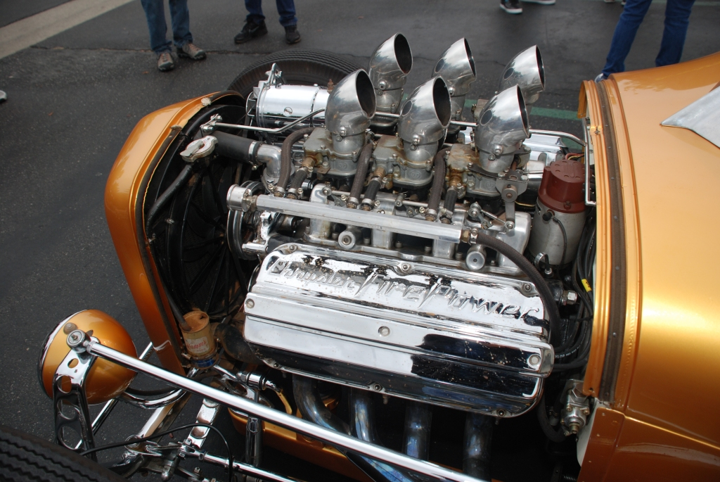 Gold hot rod with Chrysler Fire Power V8_engine, carburetor & magneto detail_Cars&Coffee_October 20, 2012