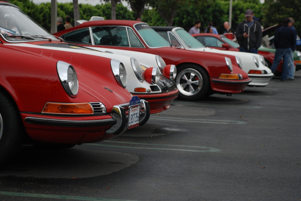 Porsche row line up_ Red & white 911's and one 912_nose shot_Cars&Coffee_October 20, 2012
