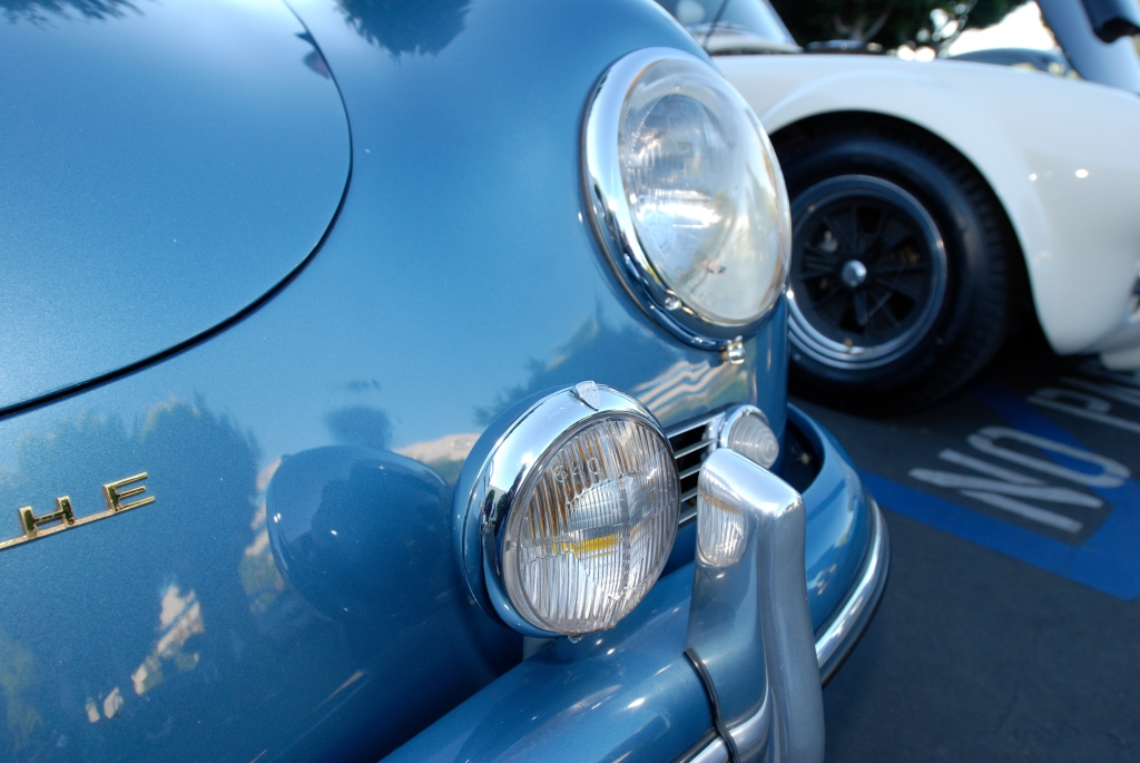 Blue 1957 Porsche 356A coupe_headlight & driving light detail_Cars&Coffee_October 27, 2012