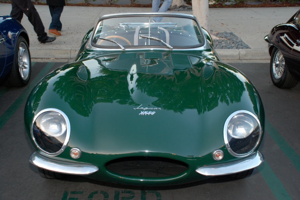 British Racing Green 1957 Jaguar D type, XKSS roadster_front view_Cars&Coffee_November 3, 2012
