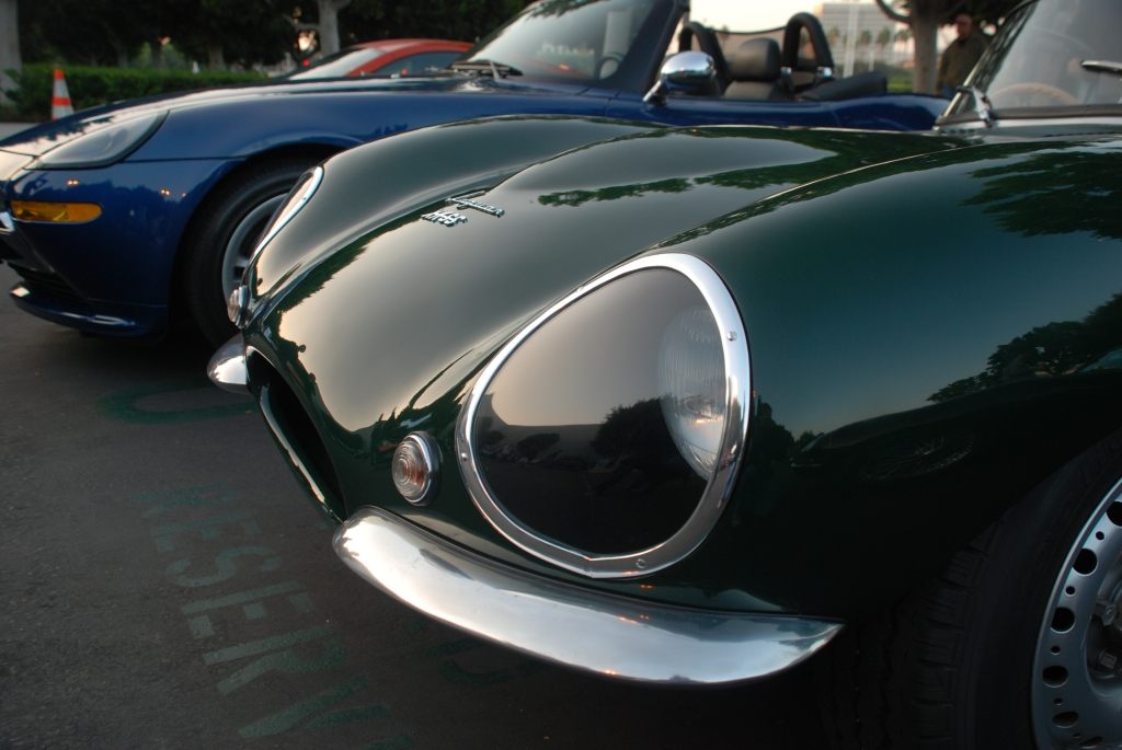 British Racing Green 1957 Jaguar D type, XKSS roadster_early morning reflections across hood_Cars&Coffee_November 3, 2012
