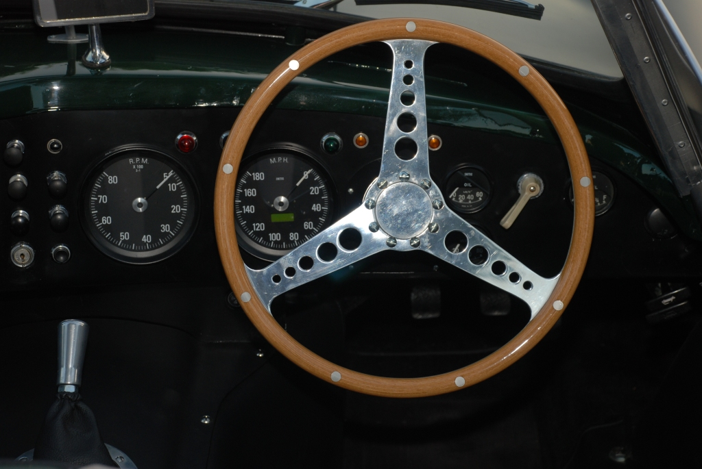 British Racing Green 1957 Jaguar D type, XKSS roadster_steering wheel and dash detail_Cars&Coffee_November 3, 2012