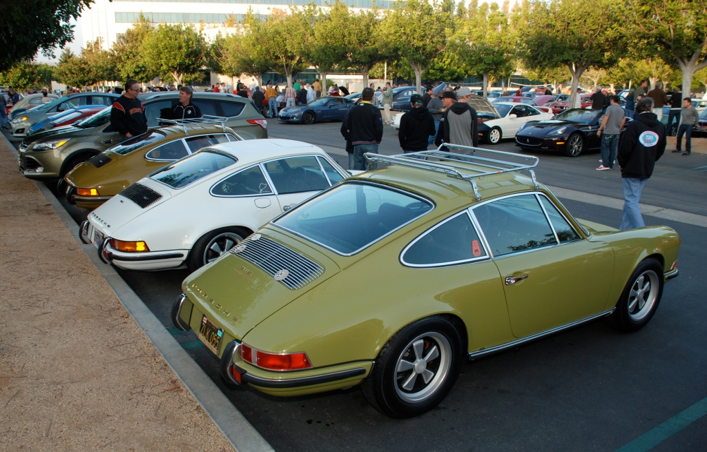 A trio of Porsche 911s- 1969 E, 1972 GT, 1973 E_Cars&Coffee_November 3, 2012