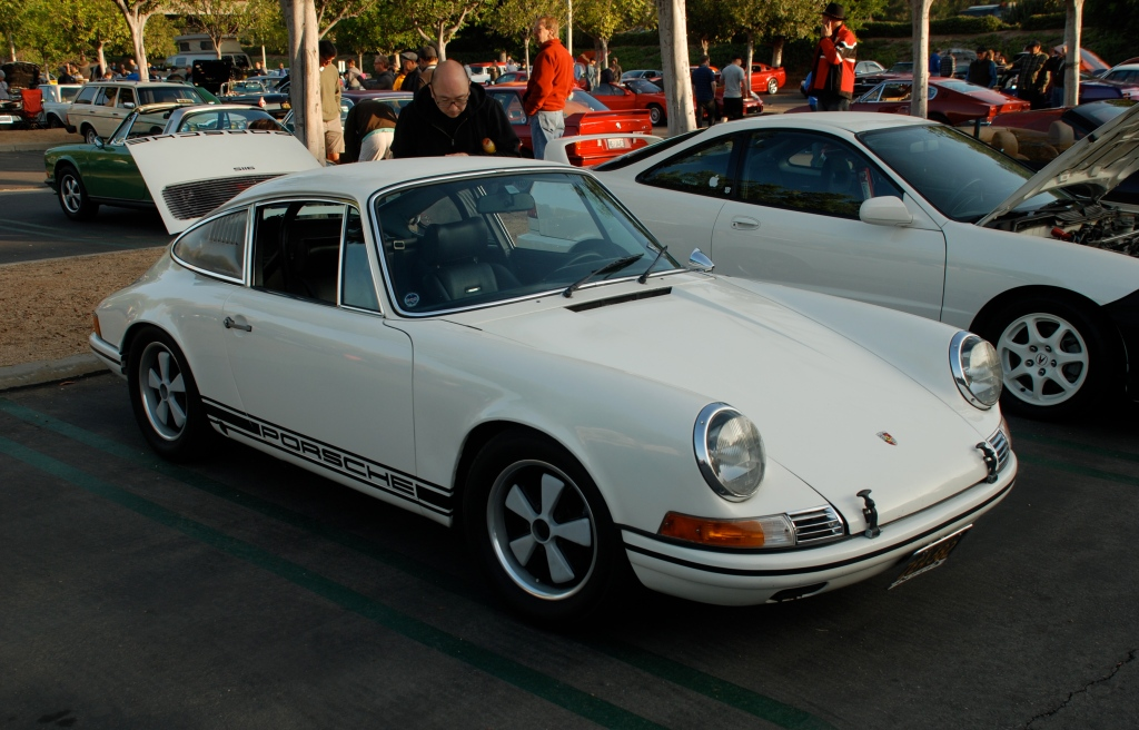 White 1969 Porsche 911S_ founding member of RGruppe car club's personal car_3/4 front view_Cars&Coffee_November 3, 2012
