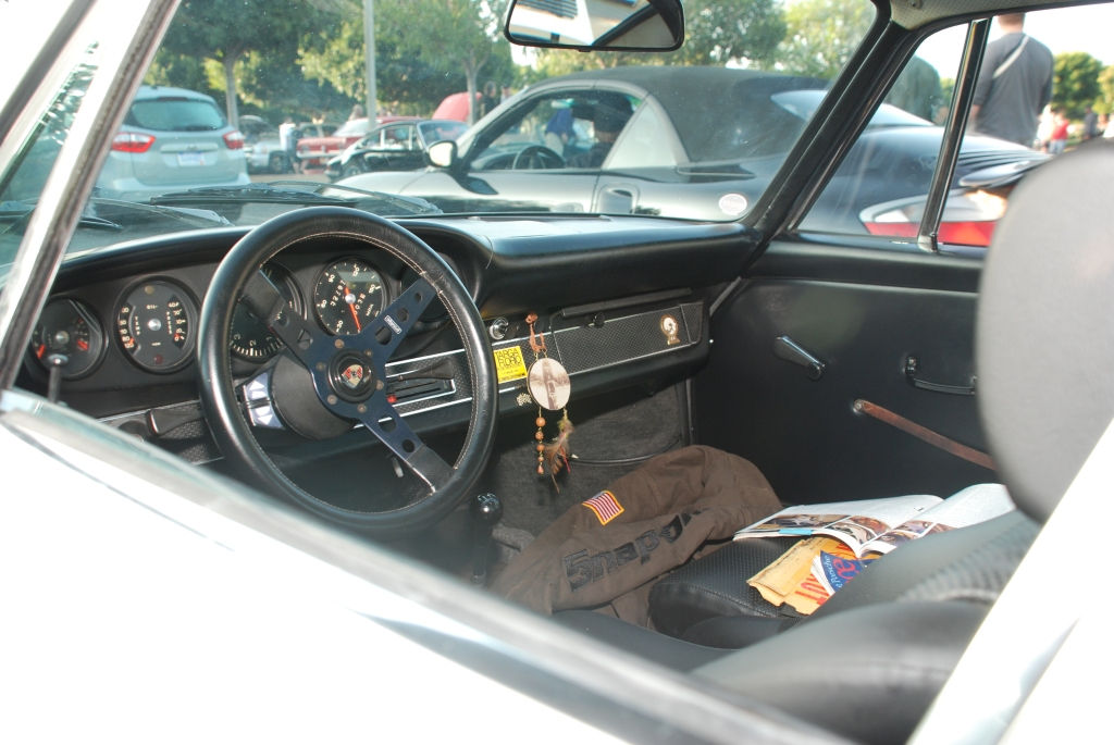 White 1969 Porsche 911S_ founding member of RGruppe car club's personal car_interior_Cars&Coffee_November 3, 2012