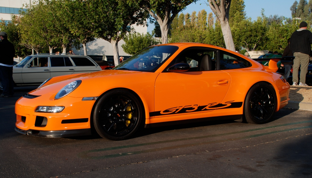 Orange 2007 Porsche GT3RS_3/4 front view_Cars&Coffee_November 3, 2012
