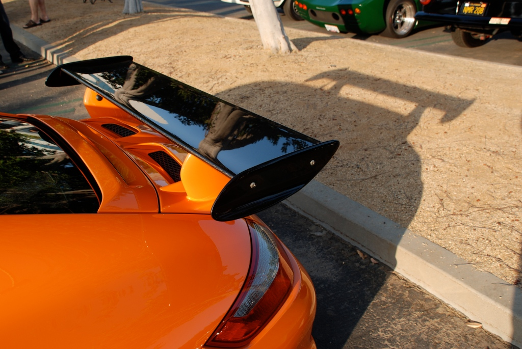 Orange 2007 Porsche GT3RS_rear wing reflections & shadow_Cars&Coffee_November 3, 2012